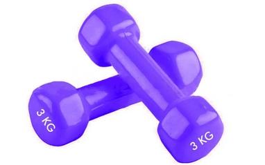 Гантели виниловые Pro Supra 2 шт по 3 кг фиолетовые