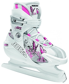 Коньки детские раздвижные ледовые Roces FUZZY 1.0 бело-розовые