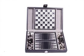 Фото 2 к товару Набор из 3 игр в кожаном кейсе (шахматы, шашки, нарды) Duke SG1150