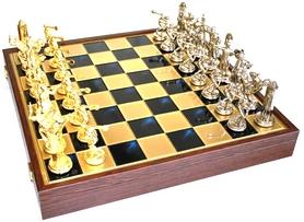 SK17BLU шахи Manopoulos, Дискобол, латунь, у дерев'яному футлярі, сині, 48х48см, 7,6 кг