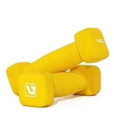 Гантели для фитнеса неопреновые LiveUp Square Head 1 кг желтые