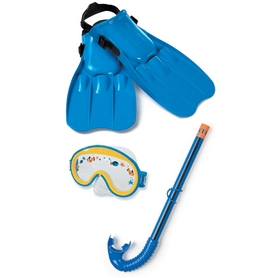 Набор для плавания (маска + трубка + ласты) Intex 55952 синий