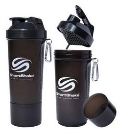 Шейкер 2-х камерный SmartShake Slim 500 мл gunsmoke black