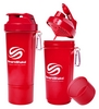 Шейкер 2-х камерный SmartShake Slim 500 мл neon red - фото 1