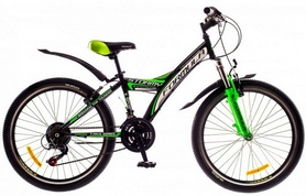 """Велосипед подростковый горный Formula Stormy AM 14G Vbr St  2016 - 24"""", рама - 13,5"""", черно-зеленый (OPS-FR-24-040-1)"""