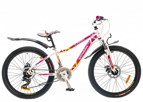"""Велосипед подростковый горный Optimabikes Florida AM 14G DD St 2015 - 24"""", рама - 12"""", бело-розовый (PCT*-OP-24-002-1)"""