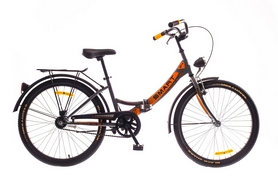 """Велосипед складной Dorozhnik Smart с багажником и корзиной 2016 - 24"""", рама – 13"""", серый с оранжевым (OPS-D-24-022-1)"""