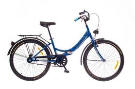 """Велосипед складной Dorozhnik Smart с багажником и корзиной 2016 - 24"""", рама – 13"""", синий (OPS-D-24-024-1)"""