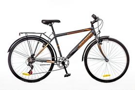 """Велосипед городской Discovery Prestige Man 14G Vbr St 26"""" с багажником серо-оранжевый 2016 рама – 18"""""""
