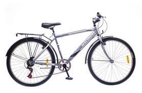 """Велосипед городской Discovery Prestige Man 14G Vbr St 26"""" с багажником серебристо-белый 2016 рама – 18"""""""