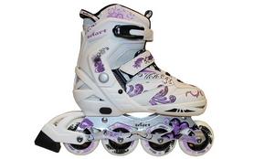 Коньки роликовые раздвижные ZEL Z-805W Grace бело-фиолет