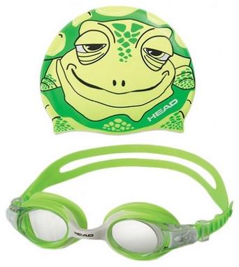 Набор для плавания Head Meteor Character (очки + шапочка) зеленый