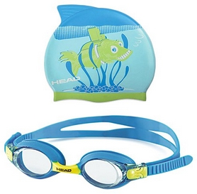 Набор для плавания Head Meteor Character (очки + шапочка) сине-зеленый