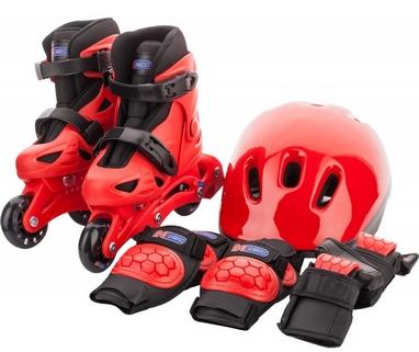 Коньки роликовые + шлем и защита Reaction красный/черный