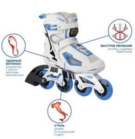 Коньки роликовые женские Reaction Women's Inline Skates R706W-0Z белый/синий