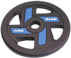 Диск олимпийский полиуретановый 20 кг Alex с хватами цветной - 51мм