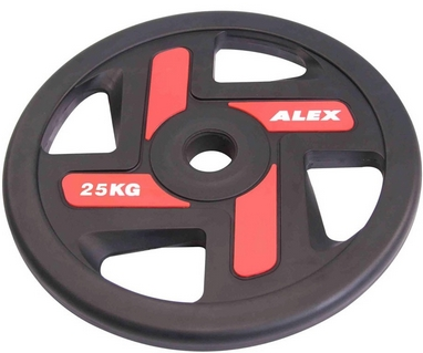 Диск олимпийский полиуретановый 25 кг Alex с хватами цветной - 51мм