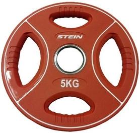 Диск олимпийский полиуретановый 5 кг Stein DB6092-5 с хватами цветной - 51мм