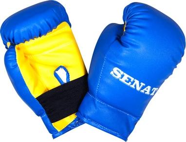 Перчатки боксерские Senat 1536 сине-желтые 4 oz