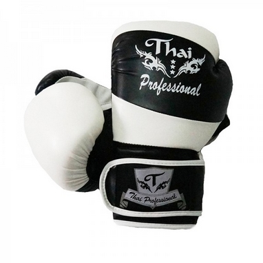 Перчатки боксерские Thai Professional BG7 TPBG7-BK-W черно-белые