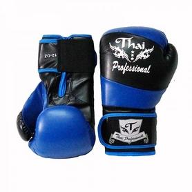 Фото 2 к товару Перчатки боксерские Thai Professional BG7 TPBG7-BK-BL черно-синие