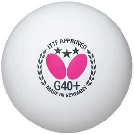 Фото 1 к товару Набор мячей для настольного тенниса Butterfly G40+ Plastic 3* (3 шт, белый)