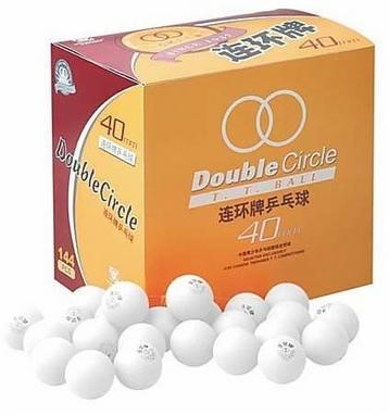 Набор мячей для настольного тенниса DHS Double Circle (144 шт., белые)