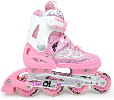 Коньки роликовые раздвижные Maraton M-0813 розовые