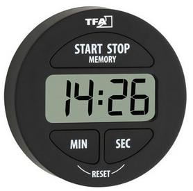Таймер цифровой TFA 120916 с секундомером чёрный
