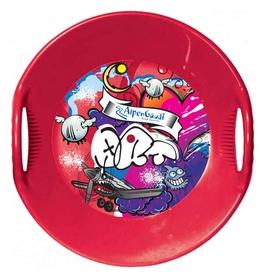 Санки-тарелка зимние Alpen Gaudi Alpen Ufo красные с принтом