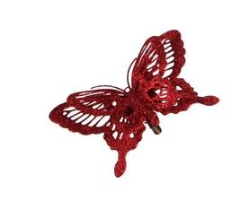 Украшение декоративная клипса Christmas House Красная бабочка