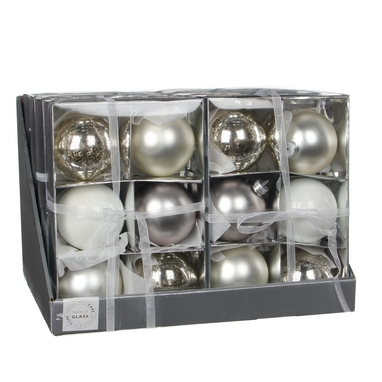 Ёлочные шары Christmas House 6 шт себряно-белые