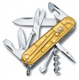 Нож швейцарский Victorinox Climber 91 мм золотистый/прозрачный