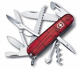 Нож швейцарский Victorinox Huntsman 91 мм красный/прозрачный