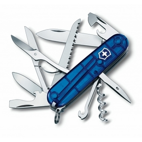 Нож швейцарский Victorinox Huntsman 91 мм синий/прозрачный