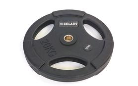 Диск обрезиненный 20 кг Zelart PU TA-5336(28)-20 - 28 мм