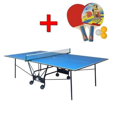 Стол теннисный складной для помещений Gk-4 cиний + подарок