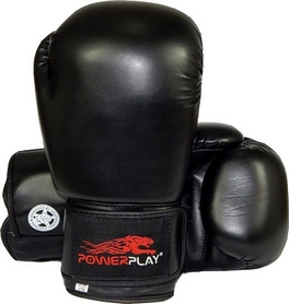 Перчатки боксерские PowerPlay 3004 черные - 12 Oz