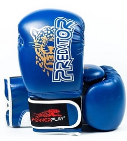 Перчатки боксерские PowerPlay 3009 Predator Leopard синие