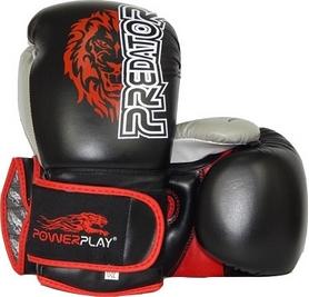 Перчатки боксерские PowerPlay 3006 Predator Lion черные