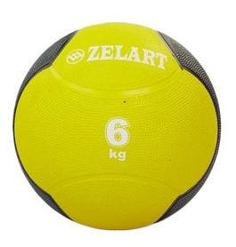 Мяч медицинский (медбол) ZLT FI-5121-6 6 кг желтый
