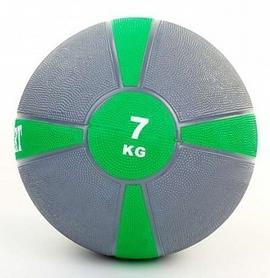 Мяч медицинский (медбол) ZLT FI-5122-7 7 кг серый с зеленым