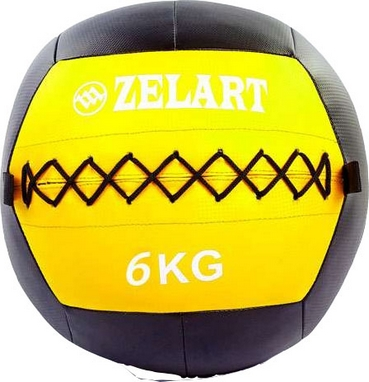 Мяч медицинский (медбол) Pro Supra Wall Ball FI-5168-6 6кг желтый