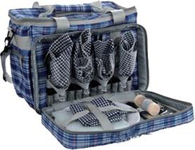 Набор для пикника на 4 персоны KingCamp Picnic Cooler Bag-4 Blue Checkers