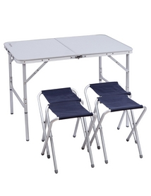 Стол раскладной + 4 стула KingCamp Table And Chair Set Silver