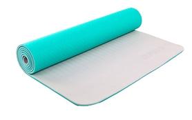 Коврик для йоги (йога-мат) ТРЕ+TC 6 мм мятный/серый