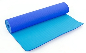 Коврик для йоги (йога-мат) FI-3046 ТРЕ+TC 6 мм синий/голубой