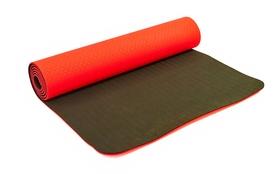 Коврик для йоги (йога-мат) FI-3046 ТРЕ+TC 6 мм красный/черный