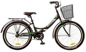"""Велосипед складной Formula Smart 24"""" 2017 с корзиной черно-зеленый, рама - 15"""""""