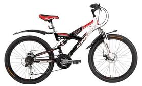 """Велосипед подростковый горный Kinetic Samurai 24"""" черно-белый, рама - 15"""""""